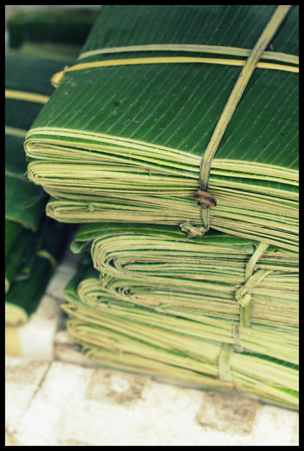 bundled banana leaves
