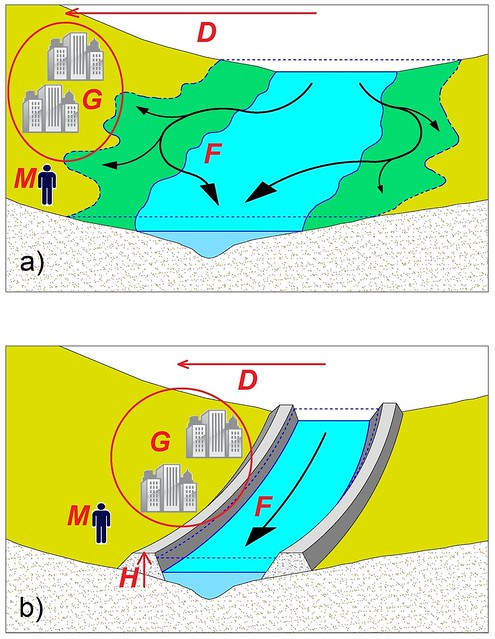 Fig. 1. Schematic of human adjustments to flooding: (a) settling away from the river, and (b) raising levees or dikes.