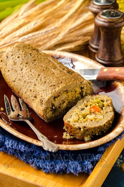 A beautiful Stuffed Seitan Roast that's fit to be the centerpiece of any vegan Thanksgiving! And the quinoa stuffing is a healthier twist on a classic.