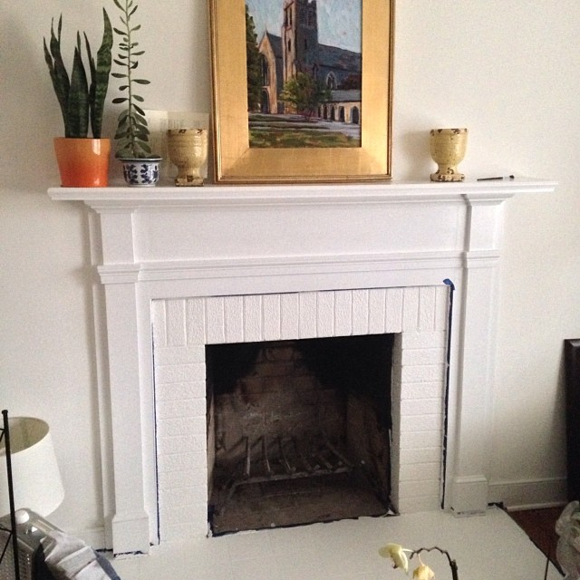 Fireplace painting in progress! #movingweekend