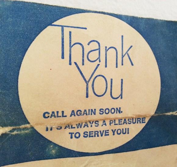 Thank You CALL AGAIN SOON