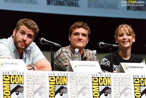 Liam Hemsworth, Josh Hutcherson, and Jennifer Lawrence