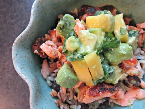 Caribbean Jerk Salmon Bowl with Mango Salsa