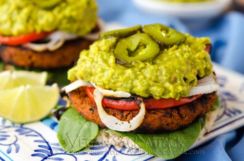 A flavorful, homemade, Soyrizo Guacamole Burger, topped with with an easy guac recipe and grilled veggies! Vegan, Nut-free, Gluten-free Option