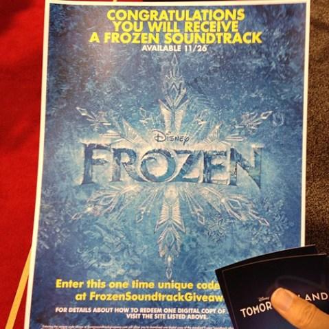 Frozenのサントラダウンロード権をいただきました。