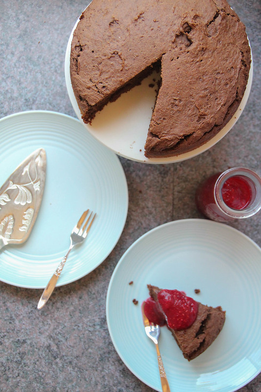 basic chocolate cake + a simple raspberry sauce