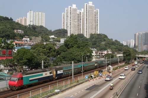 MTR operated 'KTT' double deck train northbound outside Sha Tin