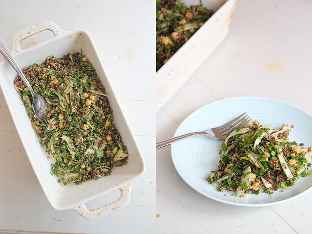 lentil + greens salad w lime + mustard dressing