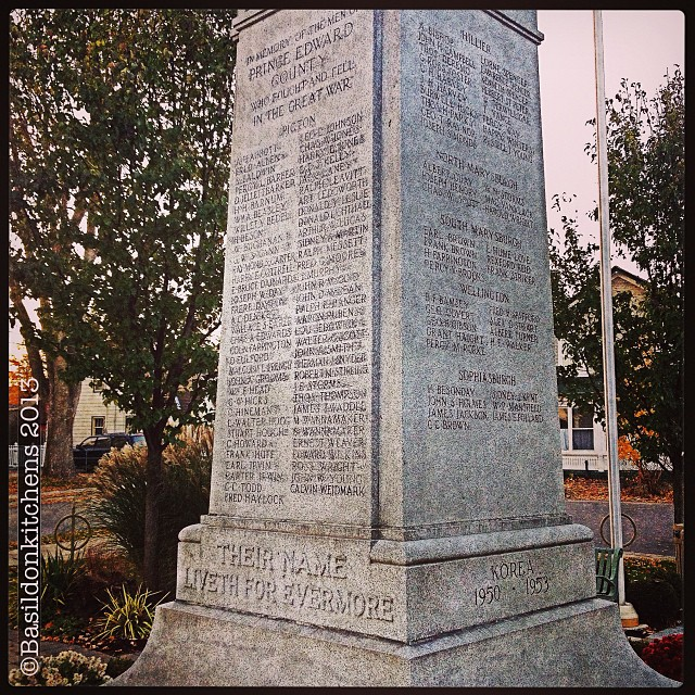 """Nov 5 - written in stone {""""Their name liveth for evermore""""} Lest we forget. #photoaday #cenotaph #lestweforget #remembrance #picton #princeedwardcounty"""