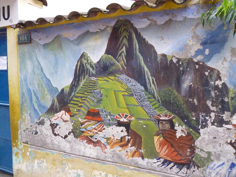 Machu Picchu mural in Aguas Calientes