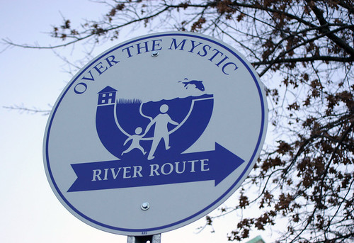 Mystic River Route sign