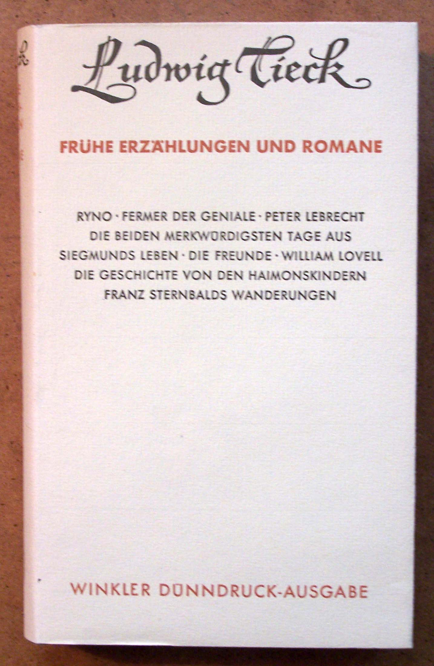 Ludwig Tieck Umschlag