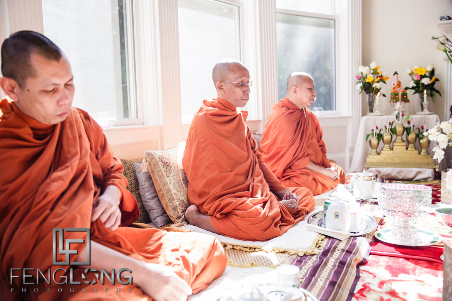 Buddhist monks during Cambodian wedding ceremony