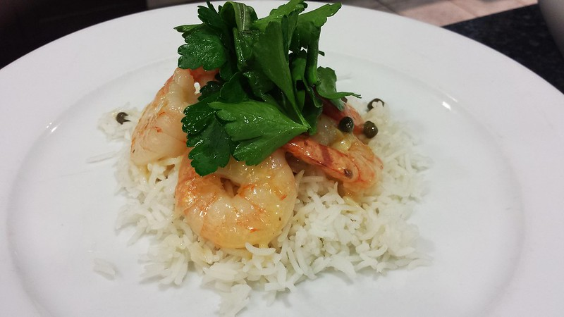 Shrimp scampi with rice and herb salad