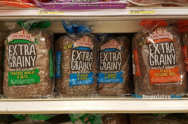 Oroweat Extra Grainy Breads (Cracked Wheat & Oats, 17 Grains & Seeds, and Flax & Sesame Seed)