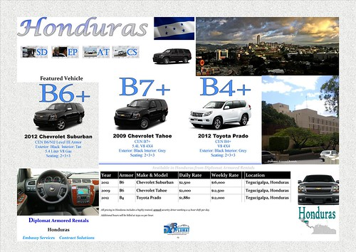 Armored Cars for Rent in Honduras by diplomatarmored