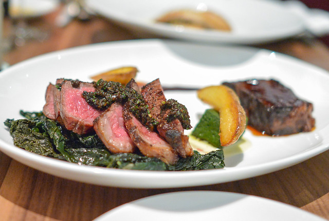 Duo of Beef grilled new york, short rib, kale 'croutons,' confit potatoes, parmesan fond