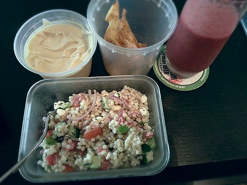 Creamy hummus, pita chips, and mediterranean salad by pipsyq
