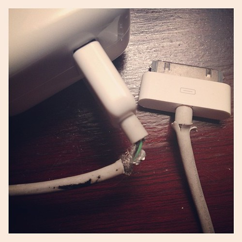 The iPhone 4S may last until the 6 debuts, but I'm pretty sure the cord is a lost cause.