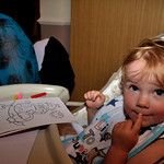 Bobbie colouring at the wedding