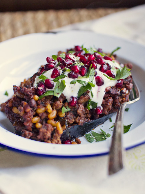 lamb stuffed eggplant with pomegranate