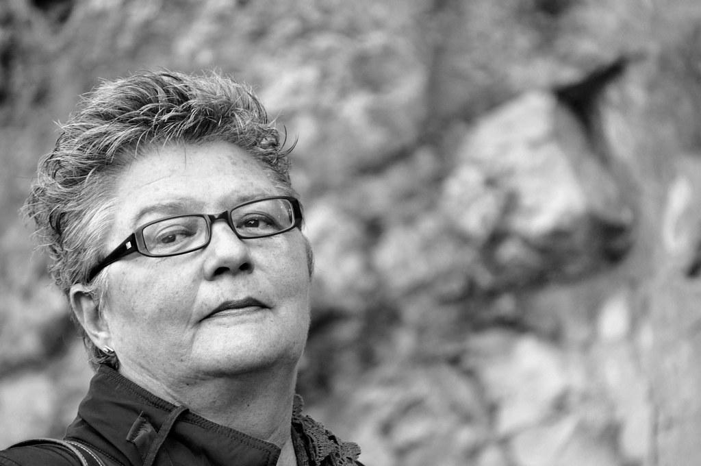 Mum in black and white
