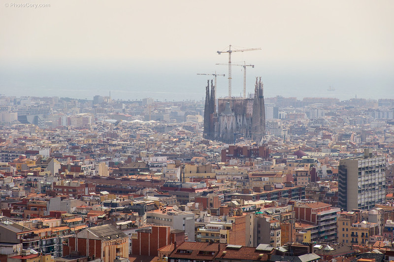 Sagrada Familia viewed from the hill