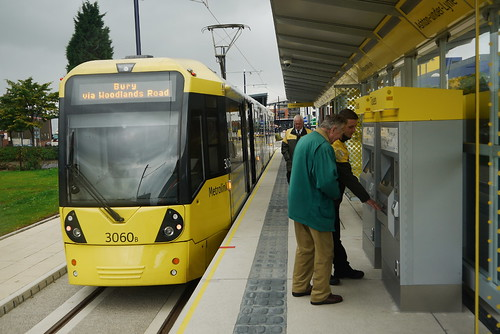 Flexity Swift M5000 tram 3060 seen on the first day of service at Ashton-under-Lyne.