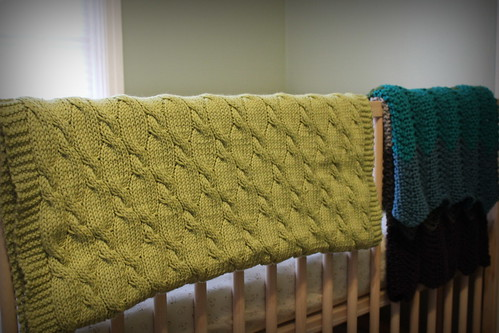 20131225. Cabled baby blanket.