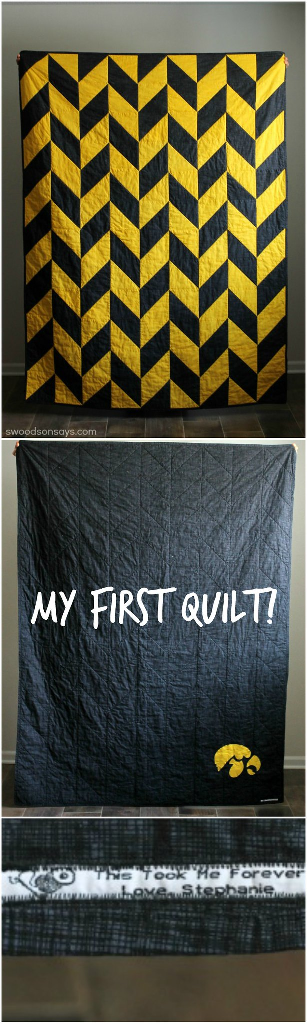 Iowa Hawkeyes Herringbone Quilt for my husband