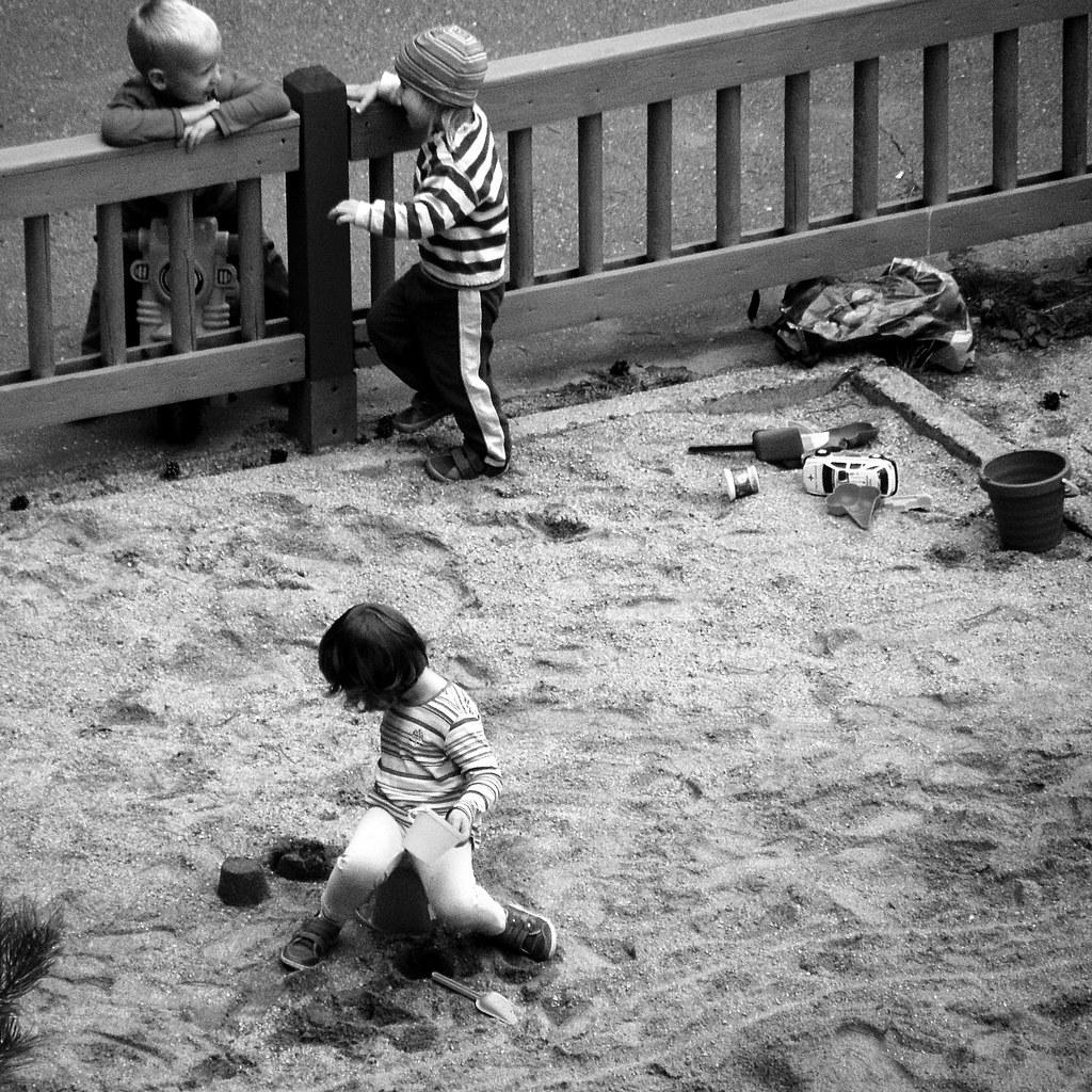 Children at Sandbox (B&W version)