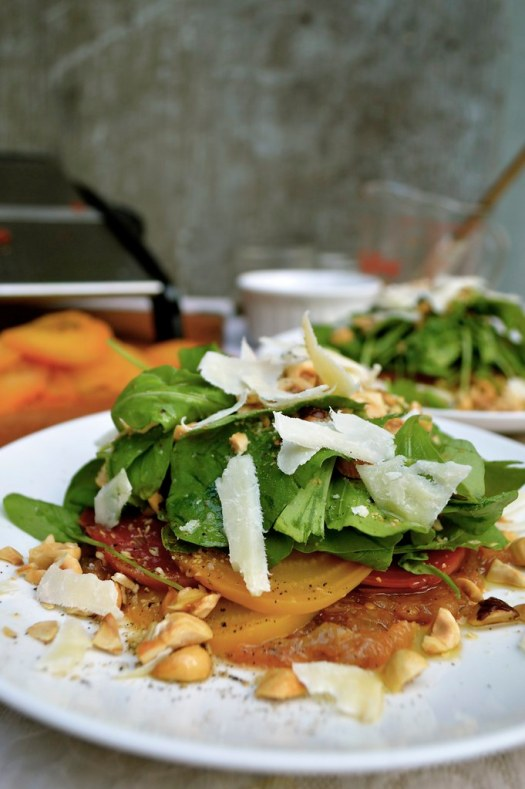 Arugula Beet Salad with Toasted Hazelnuts