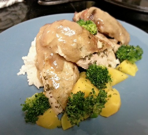 Cornish game hen, golden carrots and broccoli by pipsyq