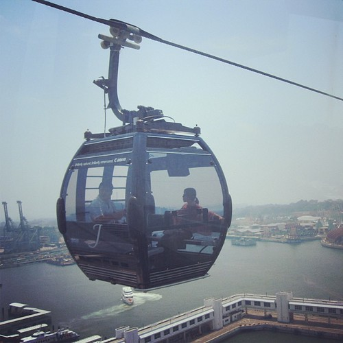 Sentosa Cable Car #singapore You can see an Italian Cruise Ship preparing to dock by @MySoDotCom