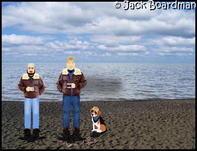 AJ, Boomer & Daisy on the beach