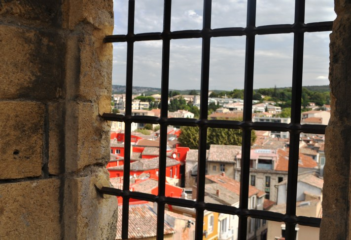 """Double Disc Hallowed Out by the Roofs"" by Artist Felice Varini, in Salon-de-Provence, on Display Until Dec. 1, 2013. It's Best Viewed from the Terrace of Chateau de l'Emperi"