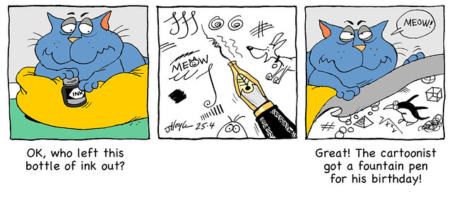 Catnip Fountain pen cartoon