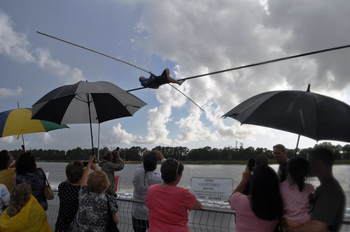Nik Wallenda takes a short break to answer questions from the crowd. Sarasota, Fla., June 19, 2013