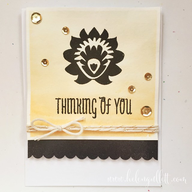 I had fun creating cards with Neat and Tangled new stamp, Paper Cut Flower. Stamped & heat embossed both flower & sentiment, then added watercolor for the background. Finished it with some gold sequins and twine. Please visit http://helengullett.com/?p=6459 for detail how I made this card.