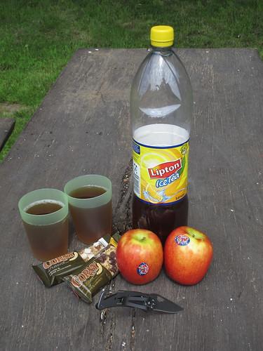 Pause mit Eistee, Müsliriegeln und Jazz-Äpfeln bei Fahrradtour im Artland