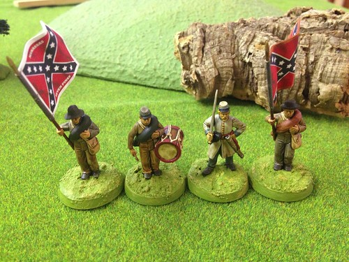 Perry Miniatures plastic ACW Confederate command group with flags