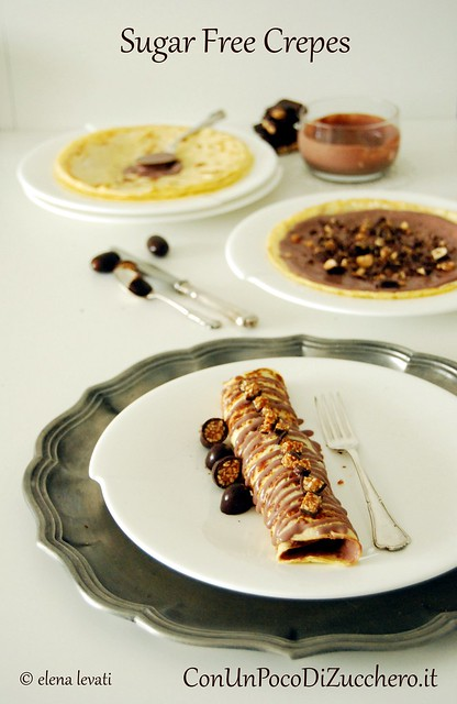Sugar free crepes with chocolate cream