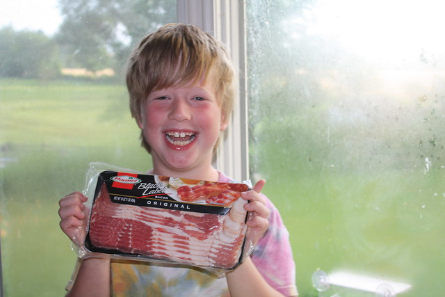 Tabby got Clark bacon for his birthday. He loved it.