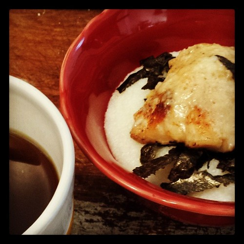 Grits with Parmesan Rock Fish and Seaweed, and Peppermint Tea with LOTS of honey. My form of comfort food #foodie #ieatthereforeiam #comfortfood by Jennifer O'Connell