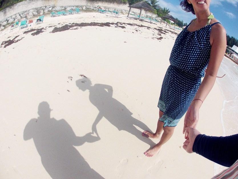 Love shadow on the beach.