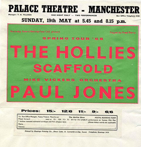 The Hollies at the Palace Theatre, 1968