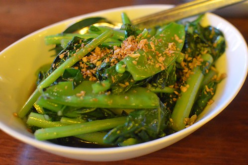 Stir fried Chinese broccoli, snow peas, garlic, oyster sauce