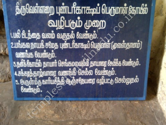 Pundarikaashan Temple at Thiruvellarai, Worship Procedure in Tamil