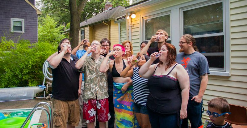 Shots with friends post-ceremony