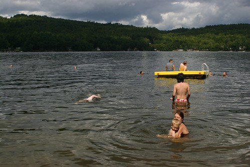 Friends swim in Worthley Pond